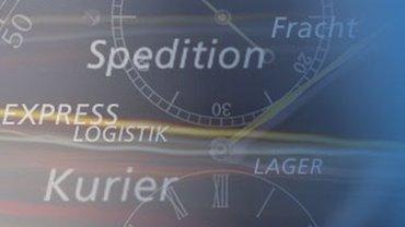 Grafik mit Aufschriften wie Logistik, Kurier, Spediton, Lager.