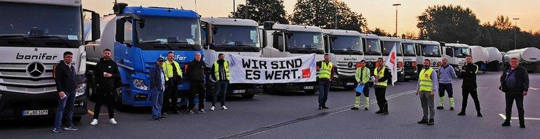 Warnstreik bei der Spedition Hellmut Schmid Ginsheim Gustavsburg